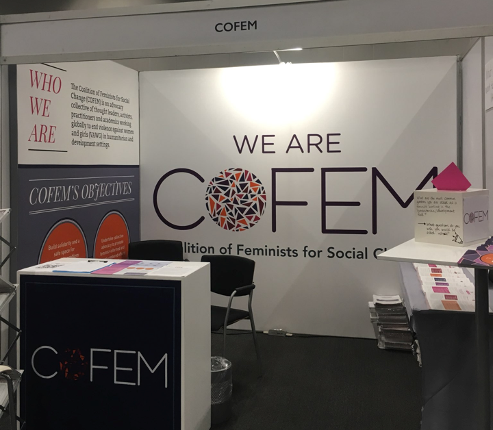 Picture of COFEM booth at the Sexual Violence Research Initiative Forum in 2019