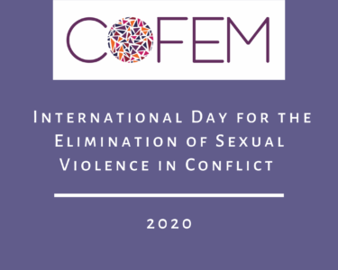 "Cover image with COFEM logo and title of blog ""International day for the elimination of sexual violence in conflict"""