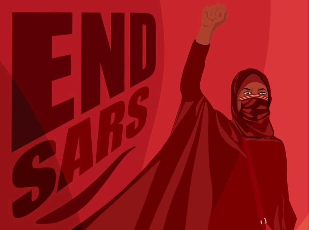 Red Illustration of Aisha Yesufu with #EndSARS written on the side.