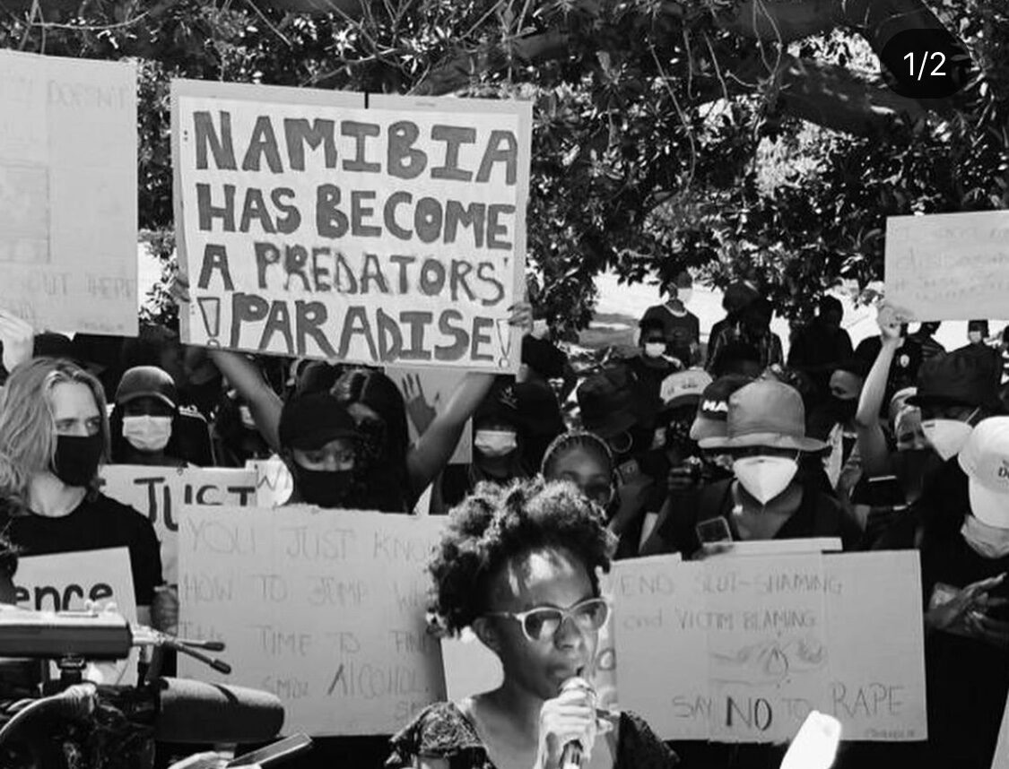"""Black and white photo at a protest in Nambia. A placard reads """"Nambia has become a predators paradise"""""""
