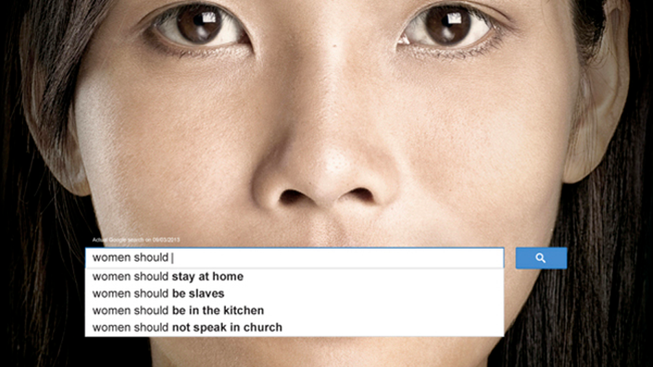 UNWomen gender equality ad campaign to raise awareness around Google's gender bias search queries.